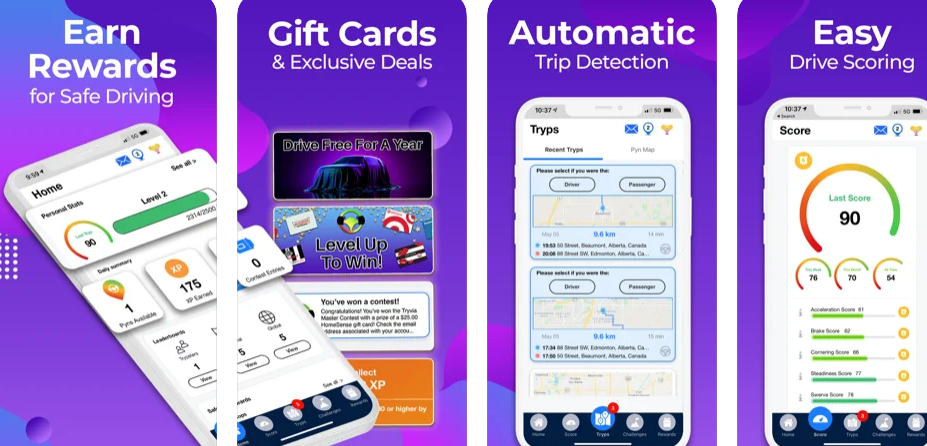 Earn gift cards, rewards & more for driving safely with TrypScore!