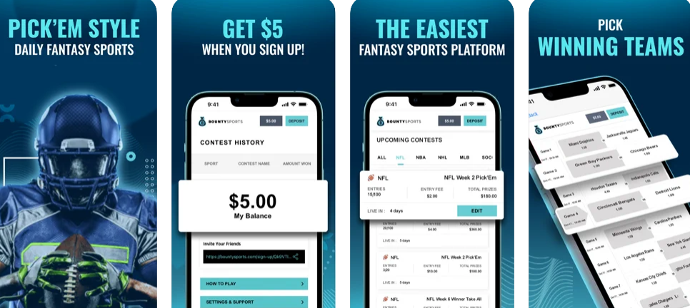 Bounty Sports features casual, quick-fire fantasy sports with daily prizes.